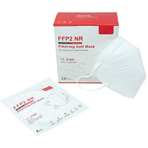 ZOFINO Atemschutzmaske FFP2 Mundschutz Maske perfekt für Mund- und Nasenschutz EU CE 2163 Zertifiziert Schutzmaske (1x 20 Stück)