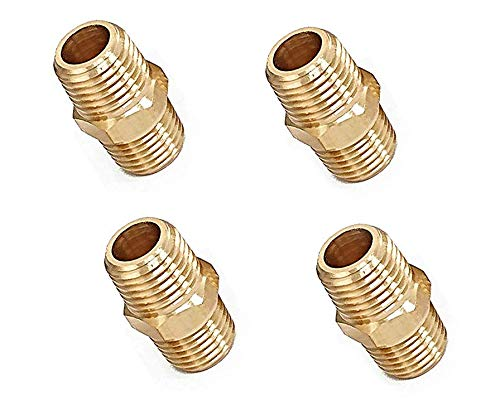 Pipe Fitting and Air Hose Fitings, Hex Nipple Coupling 1/4-Inch NPT x 1/4-Inch NPT Male Pipe- 4 Piece