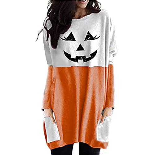 Kookmean Sudadera de Halloween para mujer, manga larga, cuello redondo, ajuste holgado, con bolsillos, A-naranja., M