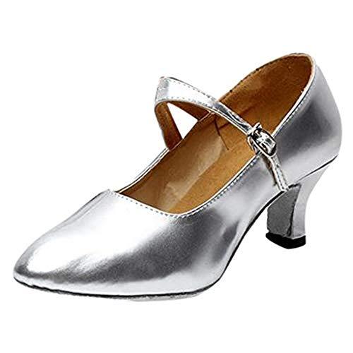 Dasongff Dames dansschoenen Latin Dance Glossy Schoenen gesloten sociale partij tango balschoenen zilver 5,5 cm hoge hakken dans schoen vrouwen sandalen pompen sandaletten