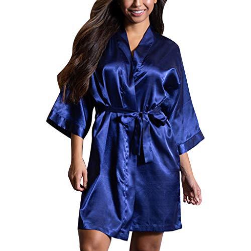 Kasee Peignoir Satin Robe de Chambre Kimono Femme Sortie de Bain Nuisette D/éshabill/é V/êtements de Nuit Femme Satin Lingerie Dentelle Peignoir Robes de Mari/ée