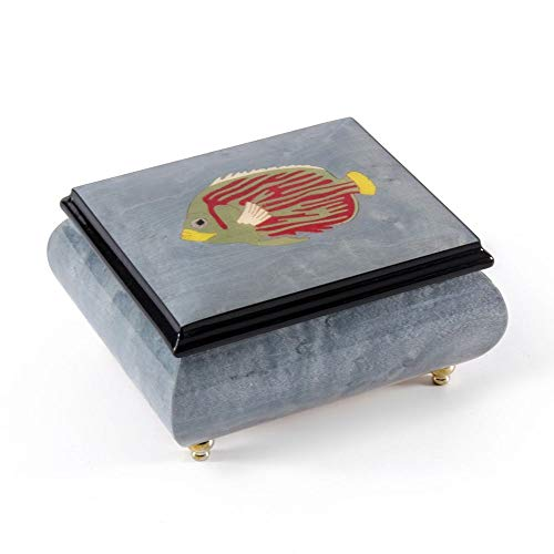 Tropical Fish Wood Inlay Light Blue 18 Note Musical Jewelry Box - Over 400 Song Choices - Once Upon A December
