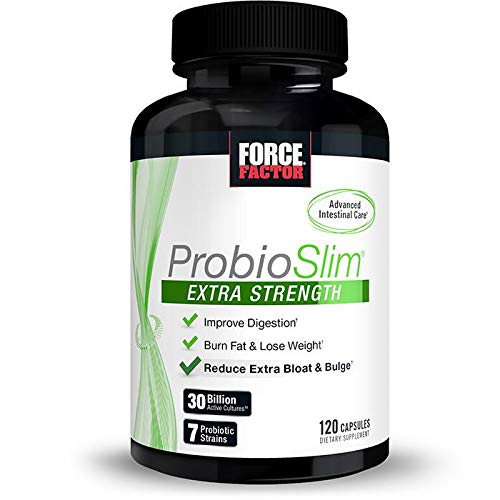 ProbioSlim Extra Strength Probiotic Supplement for Women and Men with 30 Billion CFUs for Weight Loss, Digestive Health Support, Bloating and Gas Relief, Force Factor, 120 Capsules