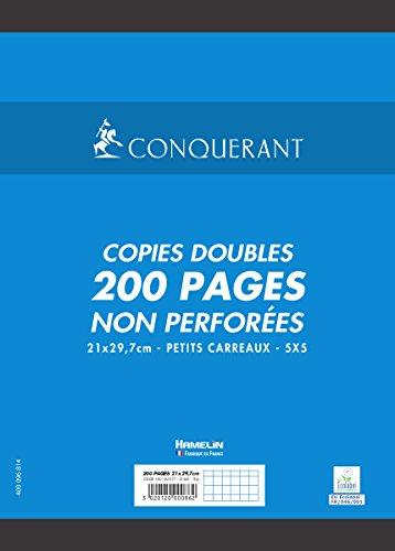 Conquérant 100102077 Copies doubles non perforées 21 x 29,7 cm 200 pages Petit Carreaux Blanc