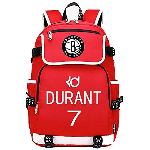 TFTREE bolsa de deporte de baloncesto Durant 7 mochilas hombres y mujeres mochilas escolares bolsa de computadora cremallera de gran capacidad interfaz USB negro rojo azul-red