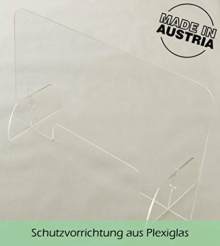 Original Thekenaufsatz Hustenschutz aus Plexiglas mit Standfüßen, kompakt & leicht, geeignet als Thekenaufsteller Spuckschutz Niesschutz Virenschutz Hustenschutz - 40 x 60cm (HxB) - Made in Austria