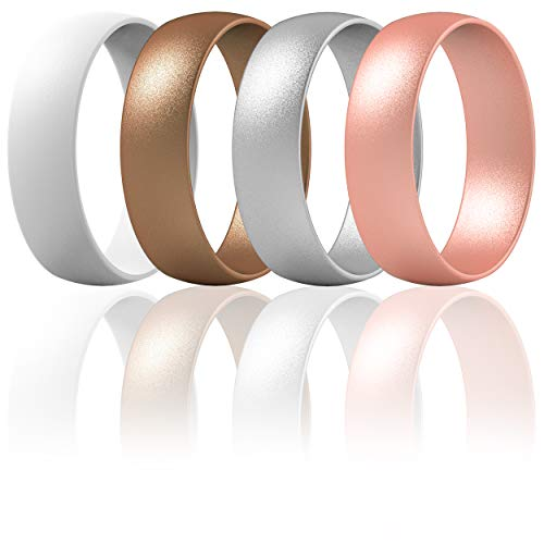 Step Edge Sleek Design Rubber Engagement Bands 7 Rings // 4 Rings // 1 Ring 10mm Width 2.3mm Thickness ThunderFit Silicone Wedding Rings for Men 2 Layers