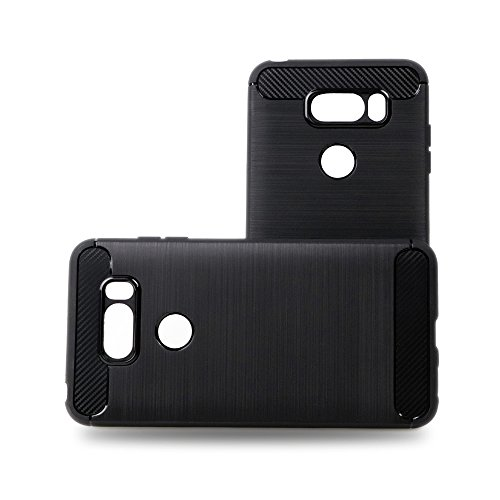 BaLeeLu LG V35 ThinQ Case/LG V30 Case/LG V30 Plus(V30+)/LG V30S Case [Slim Thin Scratch Resistant] [Silicone Rubber Carbon Fiber] Back Cover Armor Protector (Black)