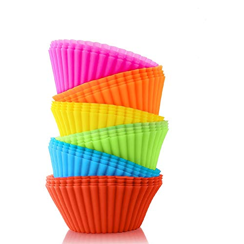 BiaoGan Silicone Cupcake Baking Cups, Multi Color Reusable Muffin Cup Liners, Rainbow Cupcake Wrappers, 24-Pack, 6 Vibrant Colors