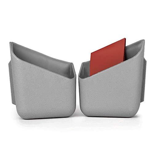Lot de 2 Vide poche gris pour voiture à coller