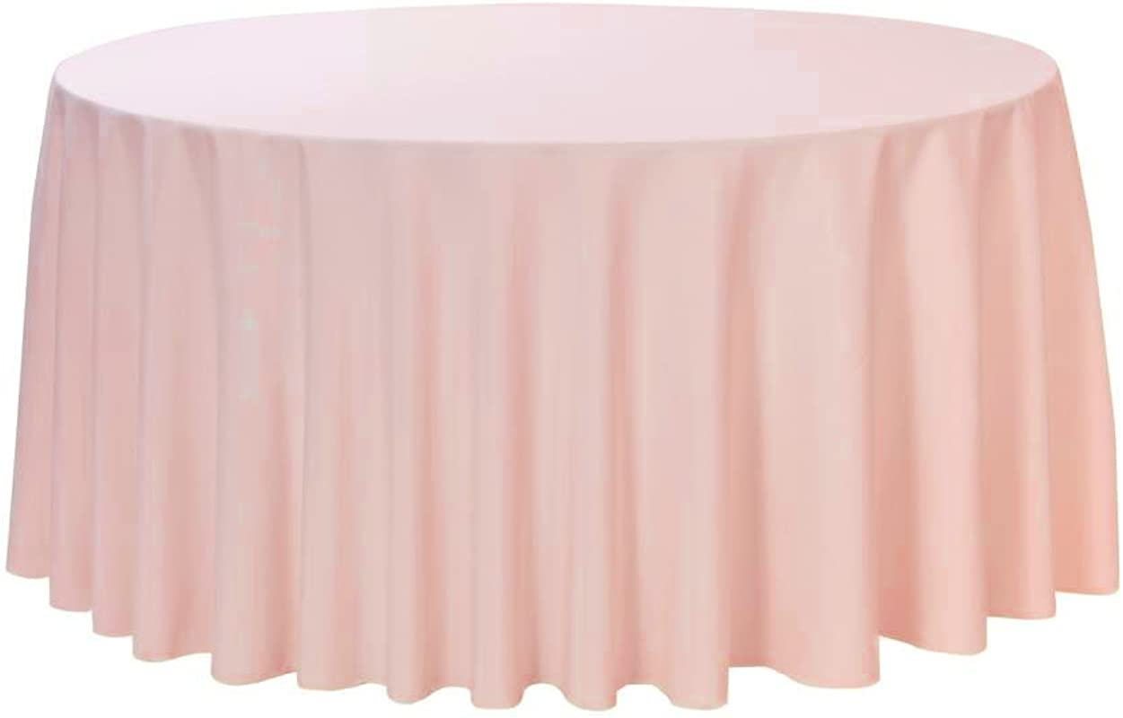 Your Chair Covers 108 Round Premium Quality Polyester Table Cloth Blush Circular Table Cover For Wedding Party Holiday Dinner And More