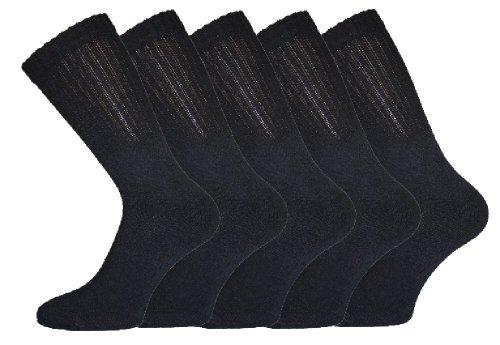 Lot de 5 paires de chaussettes de sport unies pour homme Noir ou blanc
