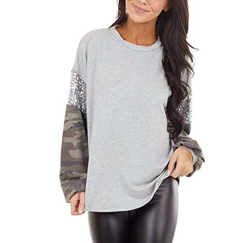 Damen T-Shirt Langarm Tarnung mit Pailletten Blusen Pullover Tops Oberteil Sweatshirt...