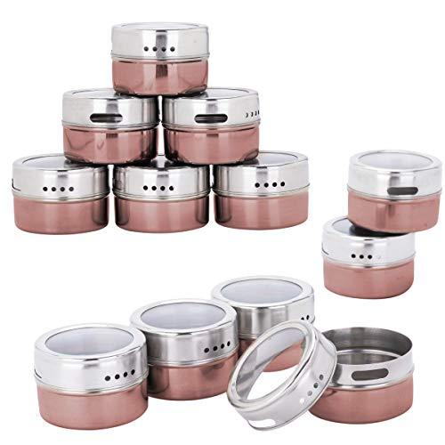 Kingmate 12 Stück (Rot) Gewürzdosen Magnetisch Edelstahl Gewürze Spice Jars, 96 Gewürzetiketten & 24 Blankoetiketten, Gewürzregal Gewürzdosen Set Glas Magnetisch Gewürz Spice Box