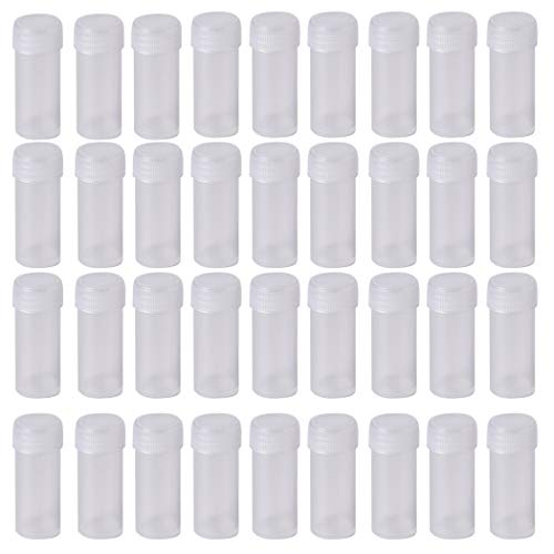 100Pcs 5ML Small Pill Plastic Containers Empty Pill Bottles Sample Bottles Vial Test Tube with Caps by HRLORKC