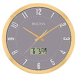Bulova C4830 Lobby Wall Clock, 14, Gold