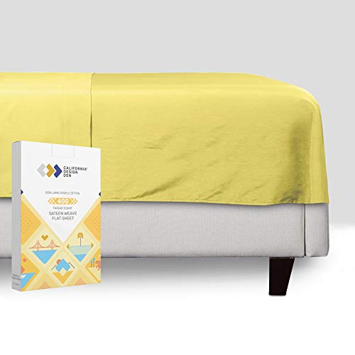 California Design Den Sunshine-Yellow Queen Bettlaken, Fadenzahl 400, 100 %...