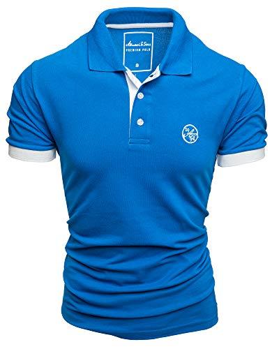 Amaci&Sons Herren Poloshirt Basic Kontrast Stickerei Kurzarm Polohemd T-Shirt 5103 Royalblau/Weiß M