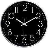 Taodyans Moderno Orologio da Parete Silenzioso Orologio da Cucina Quarzo da 30 cm per Soggiorno(Argento Nero)