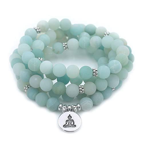 DADATU Pulsera De Mujer Mate Esmerilado Granos De Amazonita con Lotus Om Buddha Charm Yoga Pulsera 108 Mala Collar 94Cm