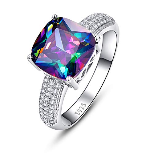 BONLAVIE Promise Rings for Her Created Rainbow Topaz Rings Cushion Cut with White Cubic Zirconia CZ Inlay Pure 925 Sterling Silver Eternity Bands Size 7