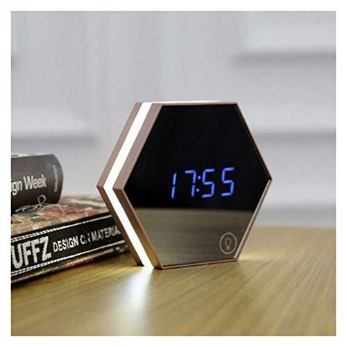 Release Reloj despertador digital LED con luz nocturna multifunción, termómetro de pared, lámpara de noche, decoración electrónica creativa (color: champán)