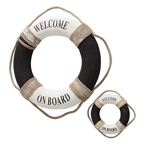 Home Collection Deko Rettungsring Welcome on Board 2er Set D20-50cm Weiss/schwarz