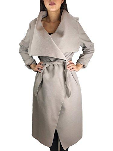 Worldclassca Damen Wasserfall Mantel Blogger Jacke Trenchcoat Fashion Cardigan Kragen ÜBERGANGSJACKE (one Size, Beige)