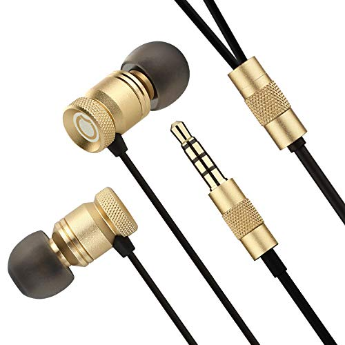 In Ear Kopfhörer, GGMM Metall-In-Ear Headphones mit Mikrofon, Gold