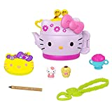Mattel Hello Kitty Tea Party Compact (4.9-in / 12.5-cm) with 2 Sanrio Minis Figures, Stationery Notepad and Accessories, Great Gift for Kids Ages 4Y+