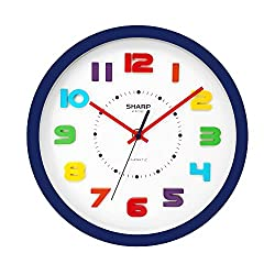 """SHARP Colorful Kids Wall Clock 10.6 Inch Silent Non Ticking Quartz Battery Operated, Easy to Read 3D """"Refrigerator Magnet"""" Style Multi Colored Numbers - Kids Room, Nursery Classroom Office, Blue Case"""