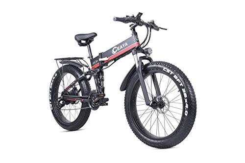 Ceaya Bicicleta Eléctrica de Montaña 26 Pulgadas con Motor de 1000W Autonomía 48V E-Bike Sistema de Transmisión de 21 Velocidades [EU Stock]