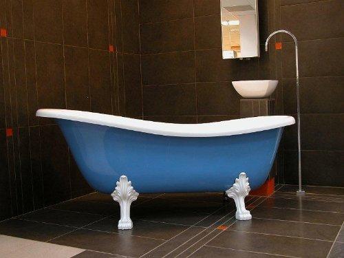 Casa Padrino Freistehende Luxus Badewanne Jugendstil Roma Hellblau/Weiß/Weiß 1470mm - Barock Antik Stil Badezimmer