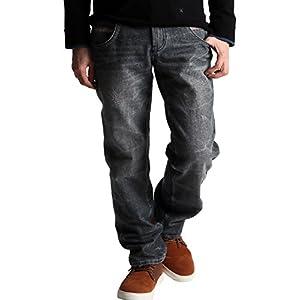 (ラフタス)Rafftas ストレート デニムパンツ メンズ ジーパン ジーンズ デニム ゆったり 太め 太い Lサイズ ブラック
