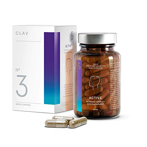 CLAV N°3 Active | Metabolism Booster | Reduce Tiredness + Fatigue + Exhaustion | with Carnipure + Guarana + Ginseng + Ginkgo | 60 Capsules Vegan