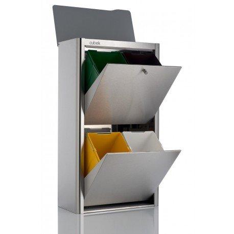 DON HIERRO - Cubo de basura y reciclaje CUBEK Inox 4 compartimentos