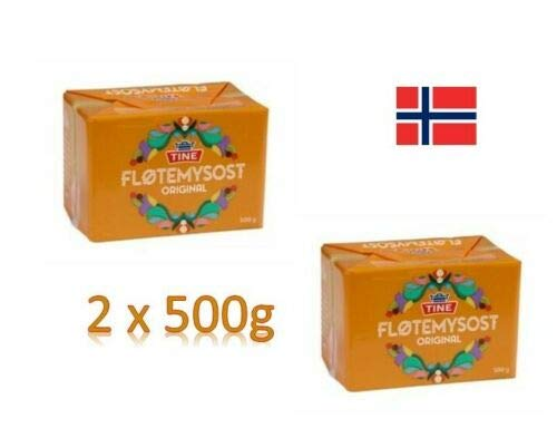 Lata tradicional noruega para queso marrón Brunost 2 x 500 g Fløtemysost