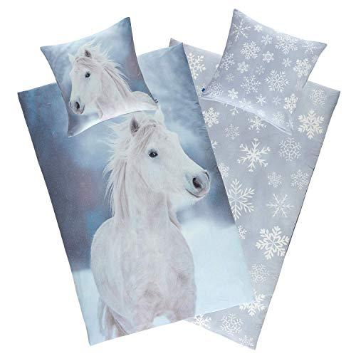 Aminata Kids Pferde Bettwäsche Biber 135x200 Kinder Pferdemotiv Baumwolle, YKK-Reißverschluss, Kinder-Wende-Bettwäsche-Set Pferd, kuschelig, weiß, Kinderbettwäsche Mädchen Pferdebettwäsche, Schimmel
