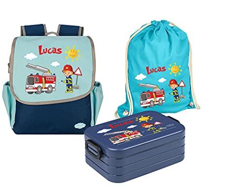 Mein Zwergenland Set van 4 kleuterschoolrugzak met lunchbox en gymtas Happy Knirps Next met naam blauw, Brandweer, SET 4…