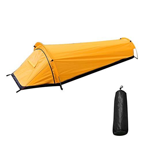 JUNMAIDZ Tienda Ultraligero mochilero Camping Tienda de campaña Soltero Soltero Tienda al Aire Libre Tienda de Dormir Espacio Mayor Espacio Impermeable Saco de Dormir Cubierta (Color : Yellow)