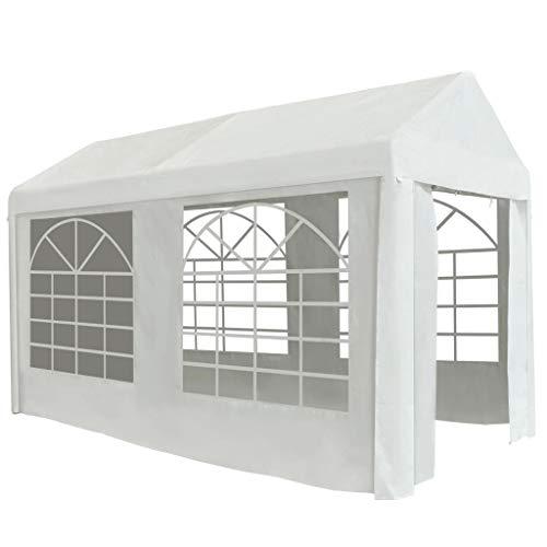 vidaXL Partyzelt mit Fenstern Wasserfest Rohrgestell Festzelt Pavillon Gartenzelt Bierzelt Gartenpavillon Garten Zelt PE 2x4m Weiß