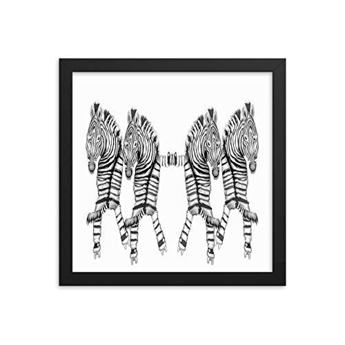 Poster mit Rahmen, Motiv Tanzende Zebras auf Rollschuhen, Premium-Fotopapier 12×12 weiß