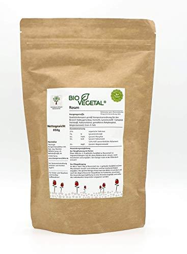 BioVegetal organisch-mineralischer Rosen-Dünger mit Guano und natürlicher Langzeitwirkung durch Fixierung der Nährstoffe durch Ton-Humus-Komplex, 850 Gr. Standbodenbeutel