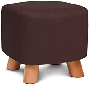 ZPF Portable Ottoman Upholstered Sofa Stool, Solid Wood Shoes Bench Home PU Leather Stool Hall Change Shoe Bench Small Footstool 28×28×25cm Heavy Duty Chair (Color : Brown)