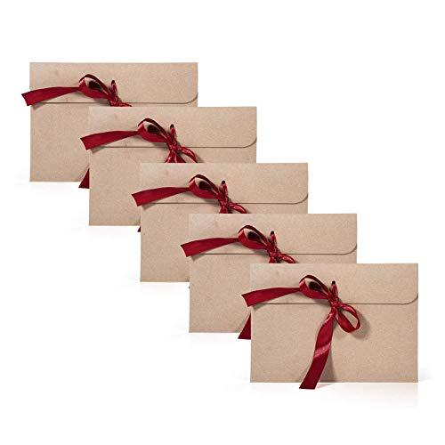 Remebe 30 Piezas Vintage Kraft 30 Piezas Cinta Sobres, Ideal para Sobres de Acción de Gracias, Invitaciones, Tarjetas de Felicitación y Tarjetas de Navidad(6,77x4,92 pulgadas) (Rojo)