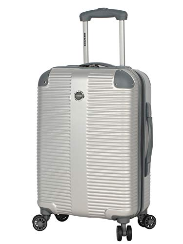 Lucas 20 Inch Carry On Luggage Collection - Expandable Scratch Resistant (ABS + PC) Hardside Suitcase - Designer Lightweight Bag with 8-Rolling Spinner Wheels (Tread Silver)