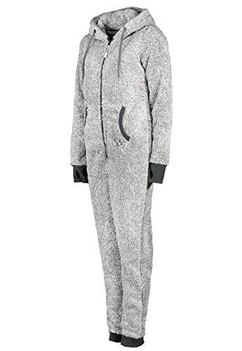 Eight2Nine Damen Jumpsuit aus kuscheligem Teddy Fleece   Overall   Ganzkörperanzug mit Ohren Dark-Grey - 3
