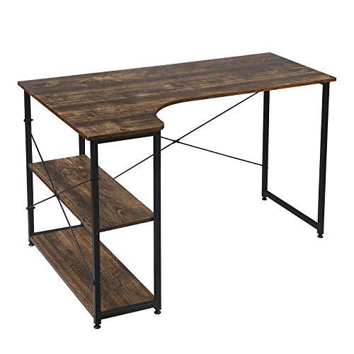 EUGAD Schreibtische Computertisch PC-Tisch Bürotisch Arbeitstisch mit Bücherregal Holz 120x74x71,5 cm Schwarz+Holz Vintage