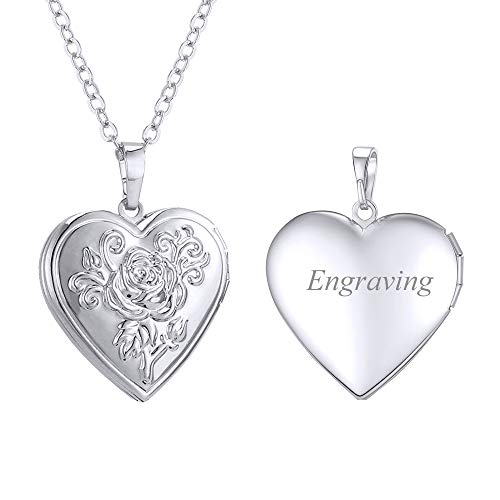 U7 Photo Locket Silver Flower Heart Necklace for Pictures Women Girls Personalised Jewellery
