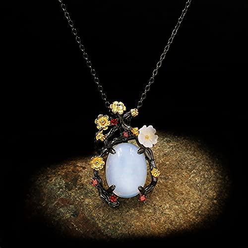 DAJIA Collar Corto de Jade Blanco con Flor de Ciruelo esmaltado Elegante para Mujer, Collar con Colgante de Oro Negro Vintage para Mujer